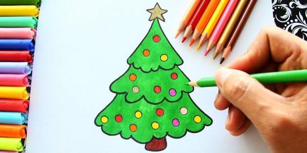 Jak nakreslit načechraný vánoční strom s tužkou nebo fixem