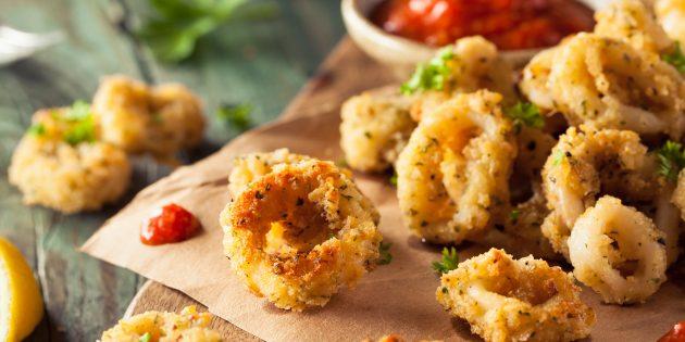 Breadcrumbs মধ্যে roasted squids: সহজ রেসিপি