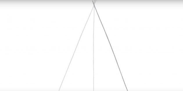 5 점을 그리는 방법 : 각도로 두 번째 줄을 추가하십시오.