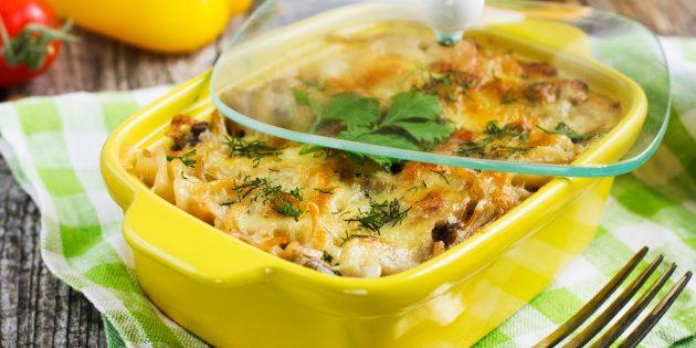मशरूम और पालक के साथ पास्ता पुलाक: सरल नुस्खा