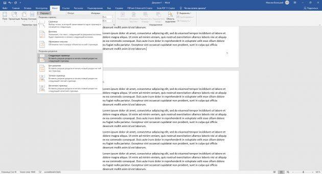 如何向Word for Windows编号页面:将文档传播到部分