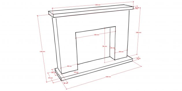 Decorative fireplace with your own hands: Dimensions