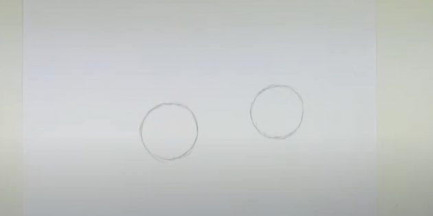 Sådan tegner du en hare: Tegn to cirkler