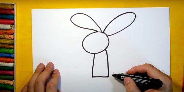 Sådan tegner du en hare: Tegn en krop