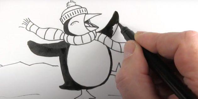 सिर, पक्षों और पेंगुइन की पूंछ त्वचा