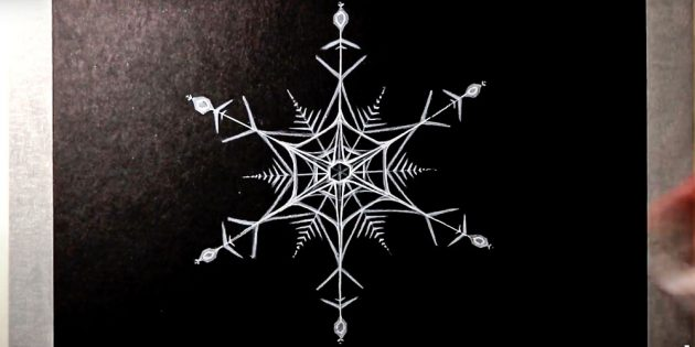 How to draw a snowflake with a pencil or felt-tip