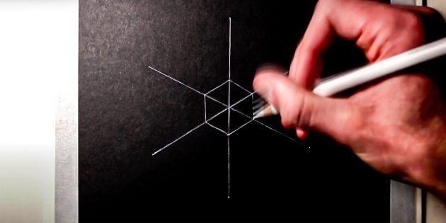 Como desenhar um floco de neve: no centro desenhar um hexágono