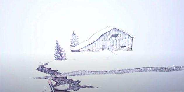 सर्दियों को कैसे आकर्षित करें: छत की रेखा को चिह्नित करें