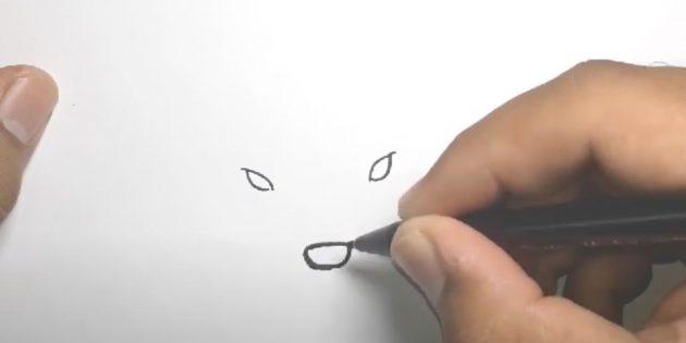 Miten piirtää hirvi: Piirrä silmäsi ja nenä