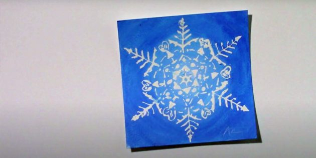 How to draw a snowflake with glue or masking liquid
