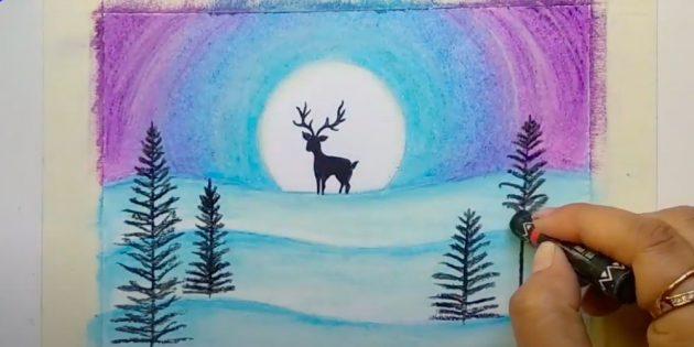 एक शीतकालीन परिदृश्य कैसे आकर्षित करें: Dorisite हिरण