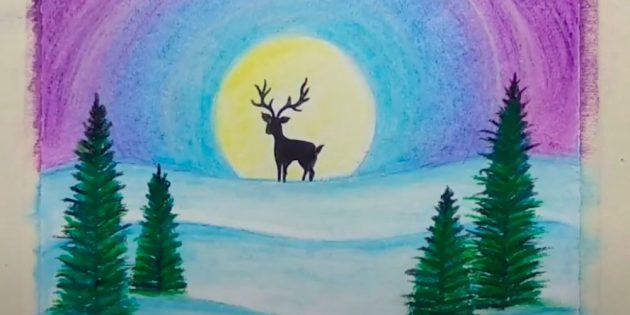 शीतकालीन परिदृश्य कैसे आकर्षित करें: रंग आकाश