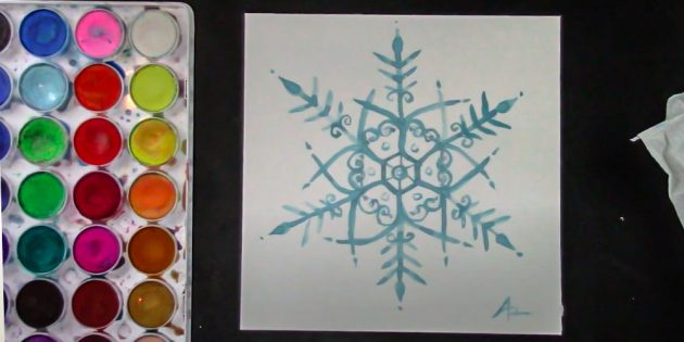 How to draw a snowflake with paints