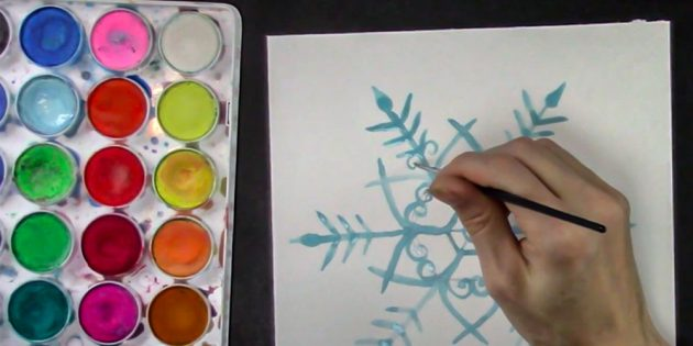 How to draw snowflake: draw curls