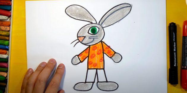 Làm thế nào để vẽ một cái thỏ rừng: tô màu cơ thể và bàn tay