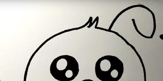 Cách vẽ thỏ rừng: Thêm một vòng cung