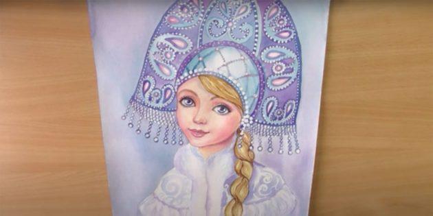 วิธีการวาดภาพสีน้ำหญิงสาวหิมะ