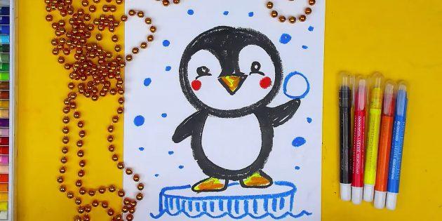 एक कार्टून पेंगुइन कैसे आकर्षित करें