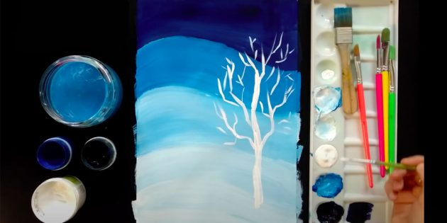 Как нарисовать зиму: изобразите дерево