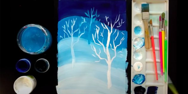 Как нарисовать зиму: изобразите ещё два дерева