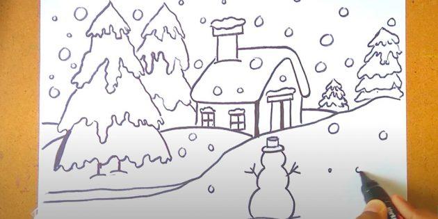 Как нарисовать зимний пейзаж: нарисуйте снеговика и снег