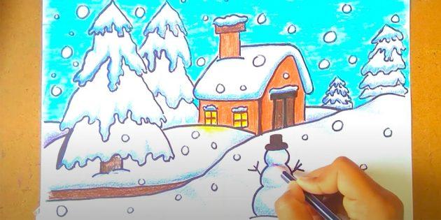 सर्दियों के परिदृश्य को कैसे आकर्षित करें: गाल्क जोड़ें