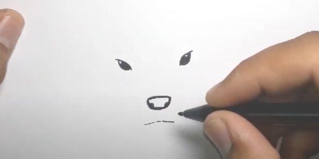 Kuinka piirtää hirvi: liu'uta silmäsi ja piirtää suusi