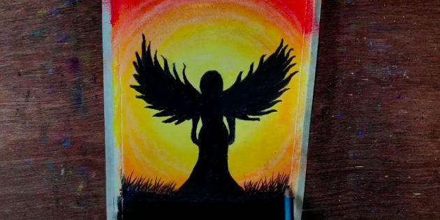 درست زیر دایره نور، در مرز آن، مداد 2B کبوتر را به عنوان نشان داده شده در تصویر، از سر و بال نشان داده شده است.