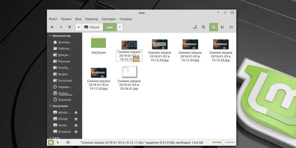 """Bagaimana untuk menukar format fail dalam Linux: Pilih """"Namakan semula"""" dalam menu konteks dan masukkan sambungan baru"""