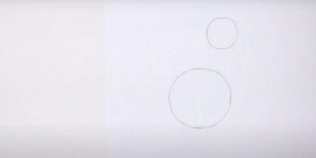 Hoe een paard te tekenen: teken twee cirkels