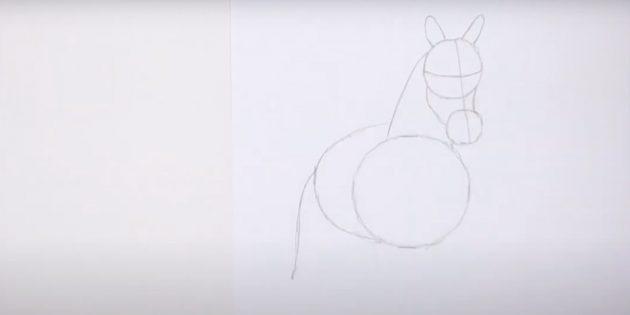 Hoe een paard te tekenen: noteer het lichaam en de staart