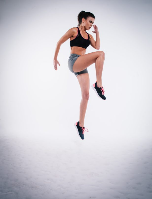 Simple exercises: High knee jumps