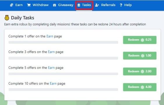 Robux daily rewards tab