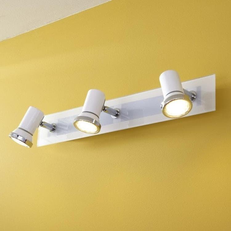 tamara barre 3 spots orientables de salle de bain acier verre l46cm