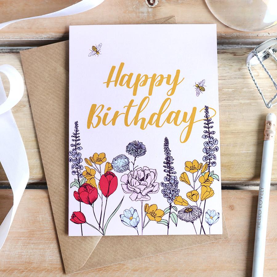 Happy Birthday Wildflower Greeting Card Lisa Angel