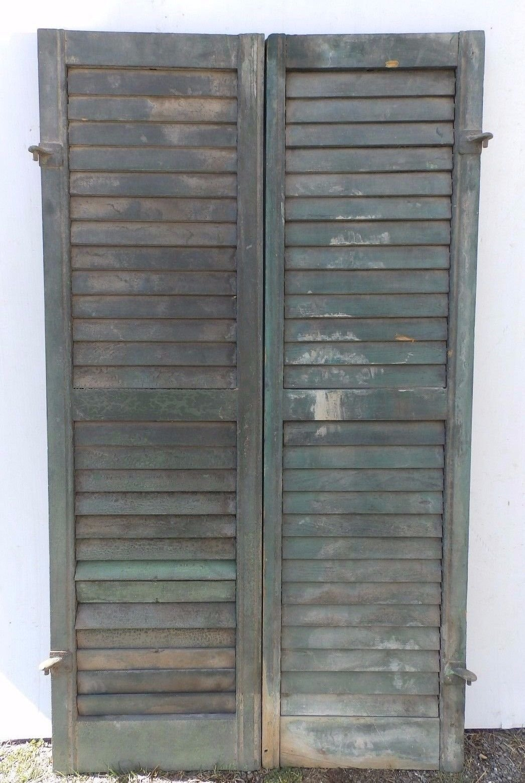 Details About Pair Antique Window Wood Louvered Shutter Shabby Old Chic Vtg 54x15 405 17r