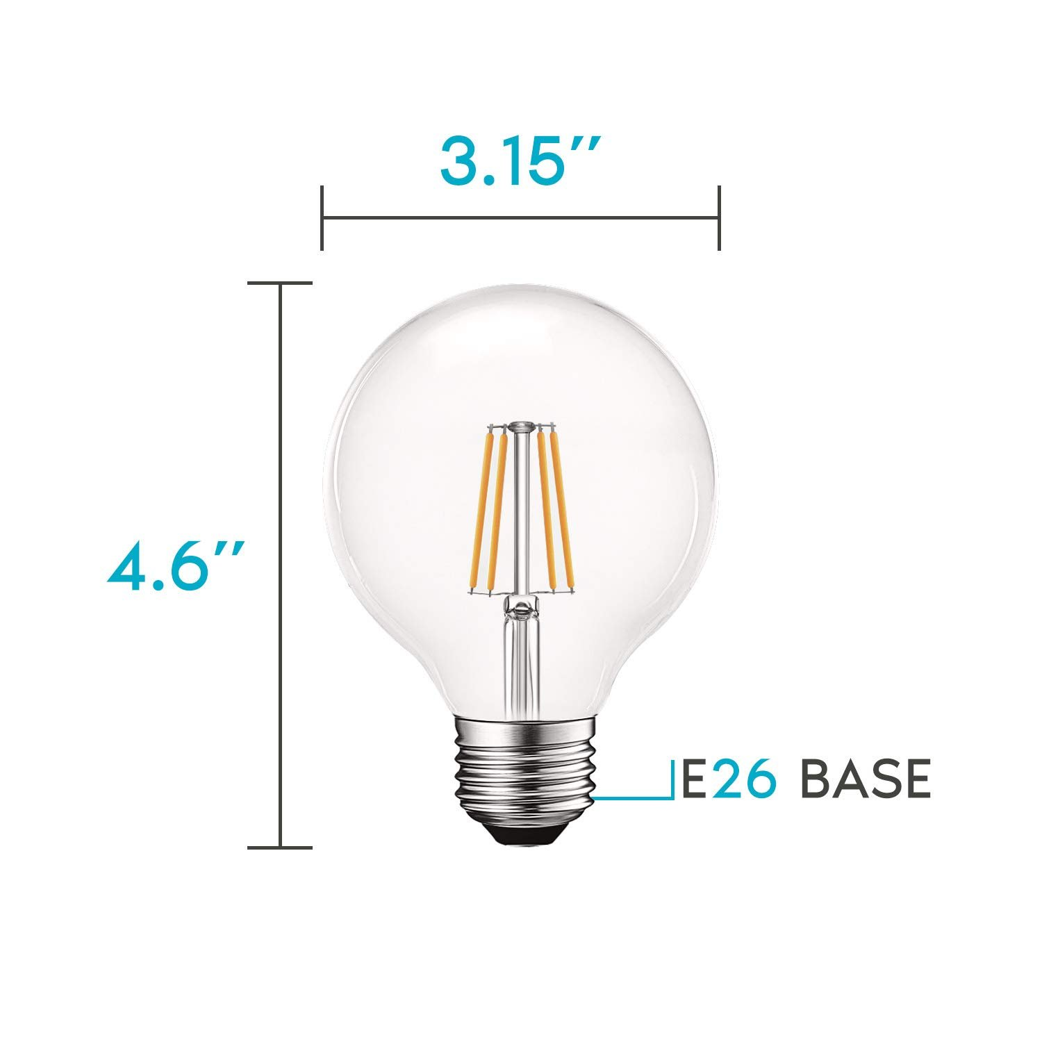 4x Luxrite G25 Led Edison Globe Bulb Dimmable K 550lm