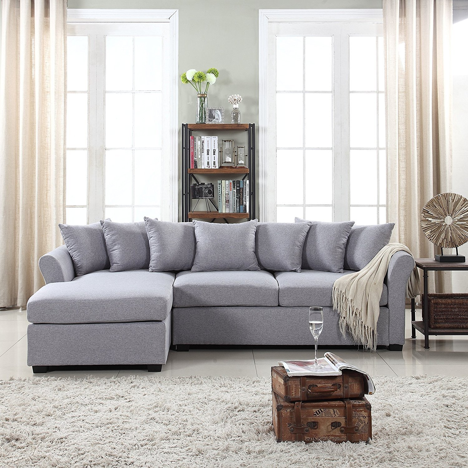 details about modern large fabric sectional sofa l shape couch extra wide chaise grey
