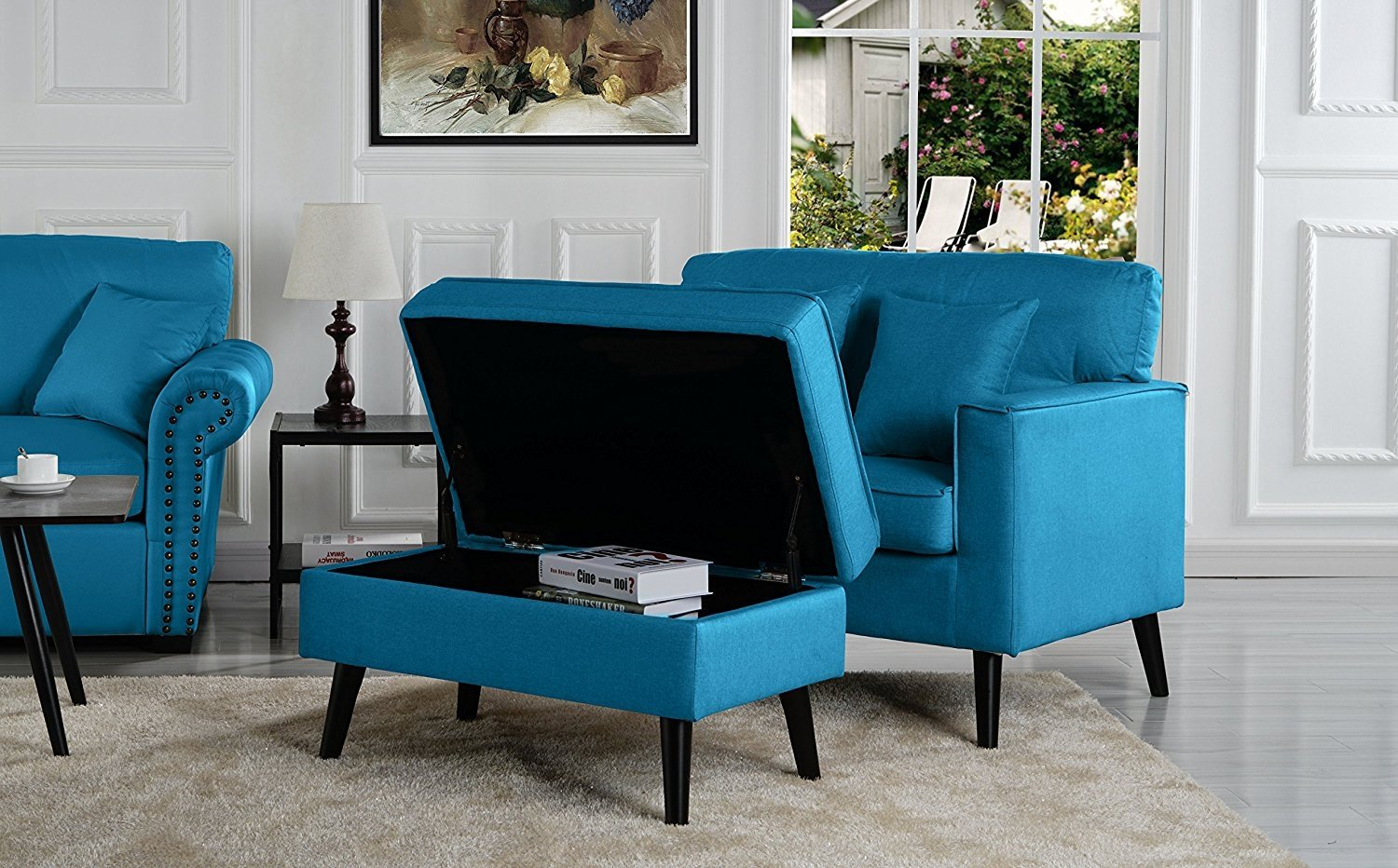 Details About Mid Century Modern Living Room Large Accent Chair W Storage Ottoman Sky Blue