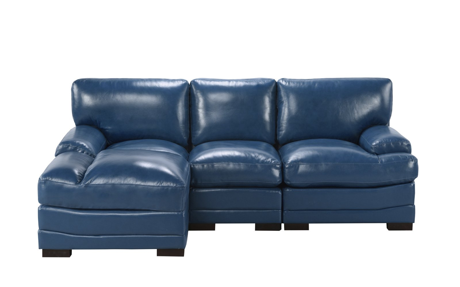 Details About Modern Left Facing Sectional Sofa Leather Match Fabric High Density Navy Blue