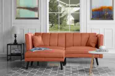 Mid Century Modern Linen Fabric Futon Sofa Bed Living Room Sleeper In Orange