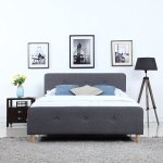 Details About Mid Century Modern Bedroom Linen Fabric Low Profile Bed Frame Queen Dark Grey