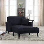 Details About Modern Fabric Recliner Sleeper Chaise Lounge Chair Black