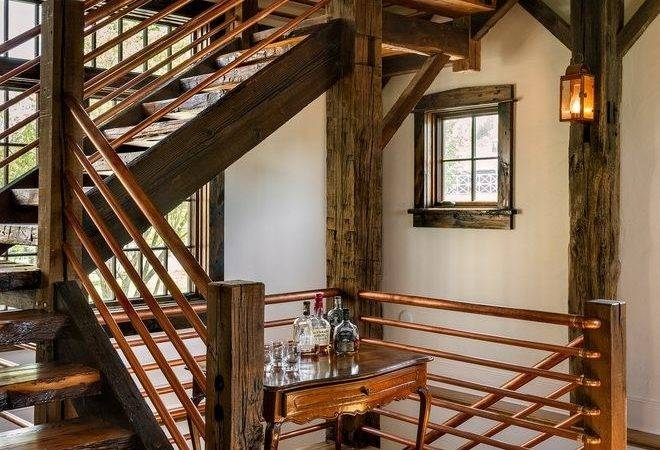 Rebar Railing Ideas Staircase Rustic Large Clear Shade Little | Rustic Handrails For Stairs | Modern | Country Style | Antique Wooden Stair | Basement | Interior