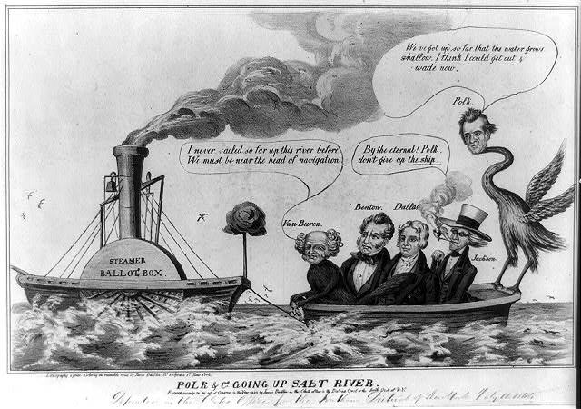 Political cartoon, 1844, steaming up salt river