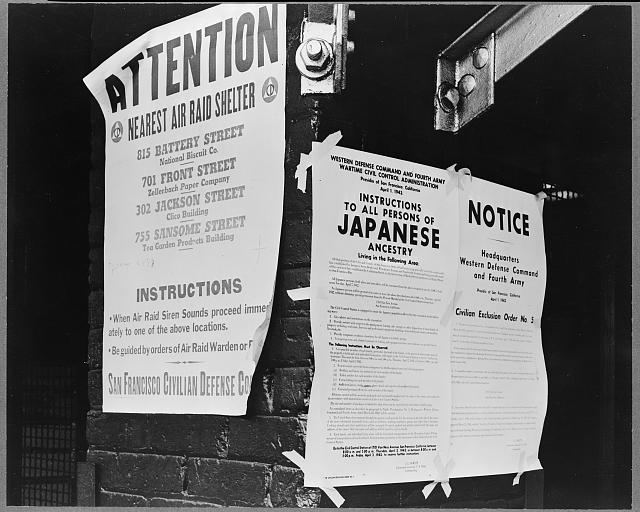 Civilian exclusion order #5, posted at First and Front streets, directing removal by April 7 of persons of Japanese ancestry, from the first San Francisco section to be affected by evacuation