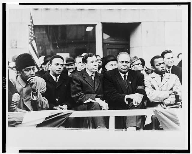 [Seated left to right: Bayard Rustin, Andrew Young, Rep. William Fitts Ryan, James Farmer, and John Lewis]