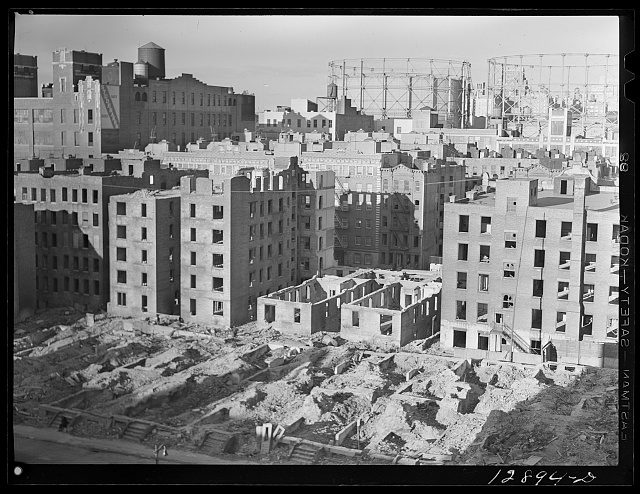 New York, New York. Demolition for slum clearance. Blocks of slum area are torn down for housing project