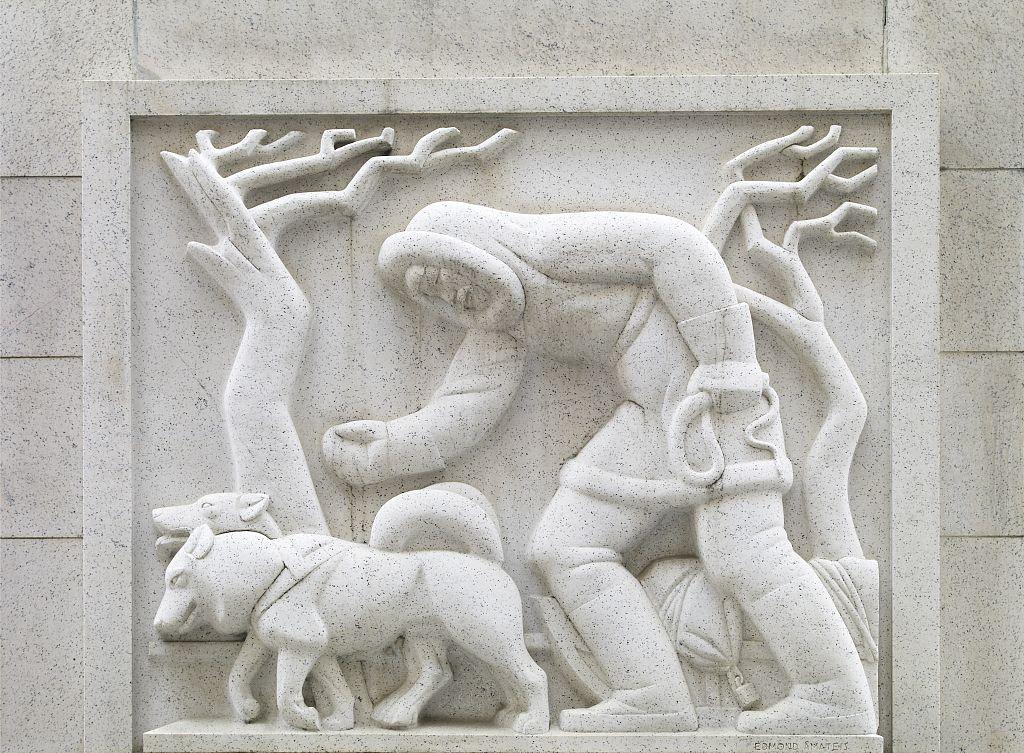 Bas relief sculpture art with korb