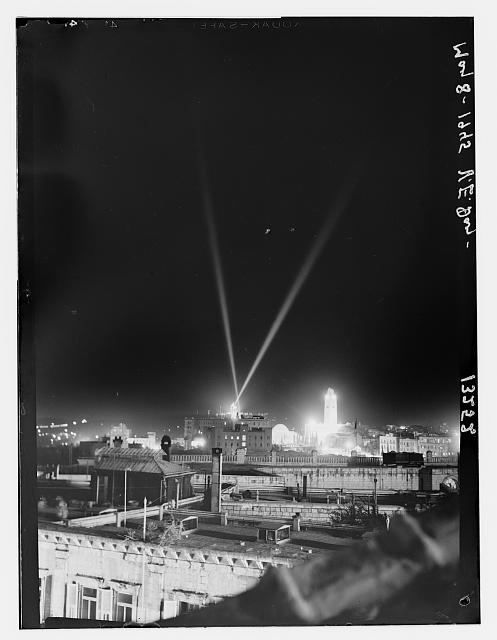 V.E. Day, May 8, 1945, night illumination over K.D. [i.e., King David Hotel] & Y.M.C.A